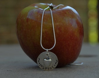 Apple for the Teacher.....Hand stamped pendant necklace with apple charm