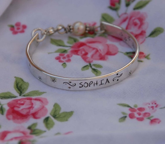 Hand stamped Child  bangle - cuff - bracelet ....all sterling, handmade just for your little one..