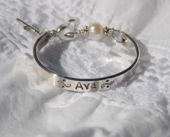 Hand stamped baby bangle for christening, baptism or confirmation....Sweet Blessing