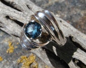 70% OFF Going Out of Business Sale.. Last One.   Rhapsody - Sterling Silver Ring with Blue Zircon - Size 7