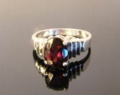 70% OFF Going Out of Business Sale.. .Sterling Silver Ring with Genuine Almandine Garnet - size 6.75
