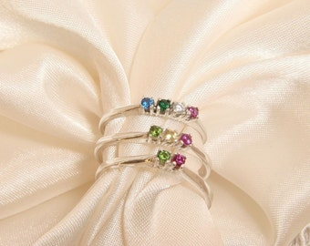 70% OFF Going Out of Business Sale.. Little Mini's Set of Three- Sterling Silver Rings with a Dash of Color