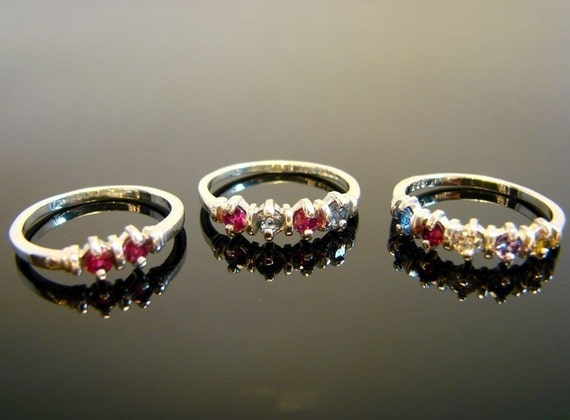 Mothers and Grandmothers Rings Sterling Silver, 1 to 5 Gems, You Pick Gems and Size