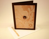 Brown upcycled wallpaper greeting card - any occasion - blank inside- unisex