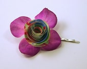 Multicolored Paper and Silk Flower Bobbi PIn Hydrangea