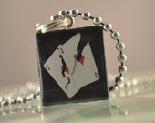 CRACKED ACES Black Scrabble Tile Pendant Charm POKER