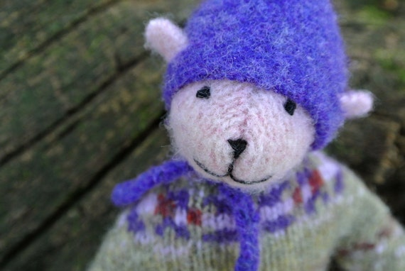 Pogo - Winnie, soft handmade wool bear, eco friendly