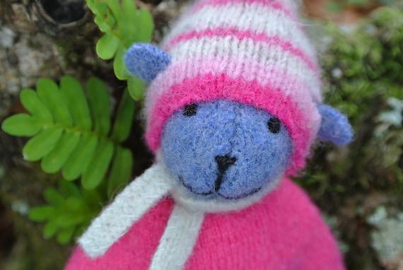 Pogo - Hannah, small hand-stitched teddy bear, eco friendly