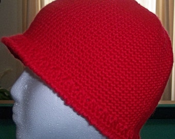 Beanie Hat for Woman or Girl crocheted in red