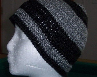 Beanie Hat for Boy Crocheted in Black and Grey