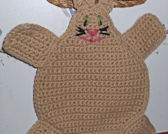 Kitty Cat Pot holder Hot pad in Tan Crochet