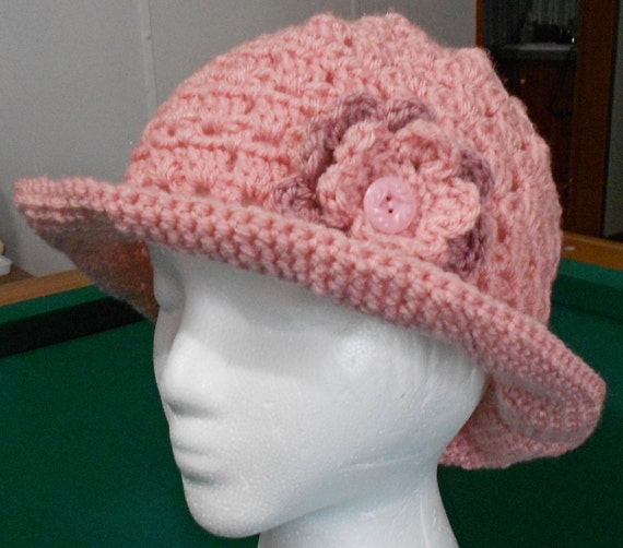 Crochet Pink Hat with Brim and Flower for Youth Toddler or Woman