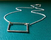 Hammered Window Rectangle Recycled Sterling Silver Necklace