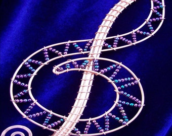 Copper and Glass Beaded Treble Clef Magical Bubble Wand (CUSTOM COLOR)