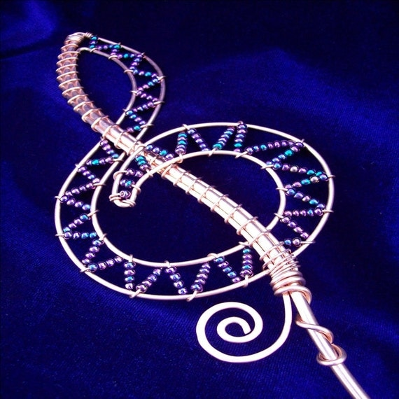 Music lover Magic Bubble Wand, Copper and Glass Beaded Treble Clef Magical Bubble Wand ,,,,CUSTOM COLOR,,,,