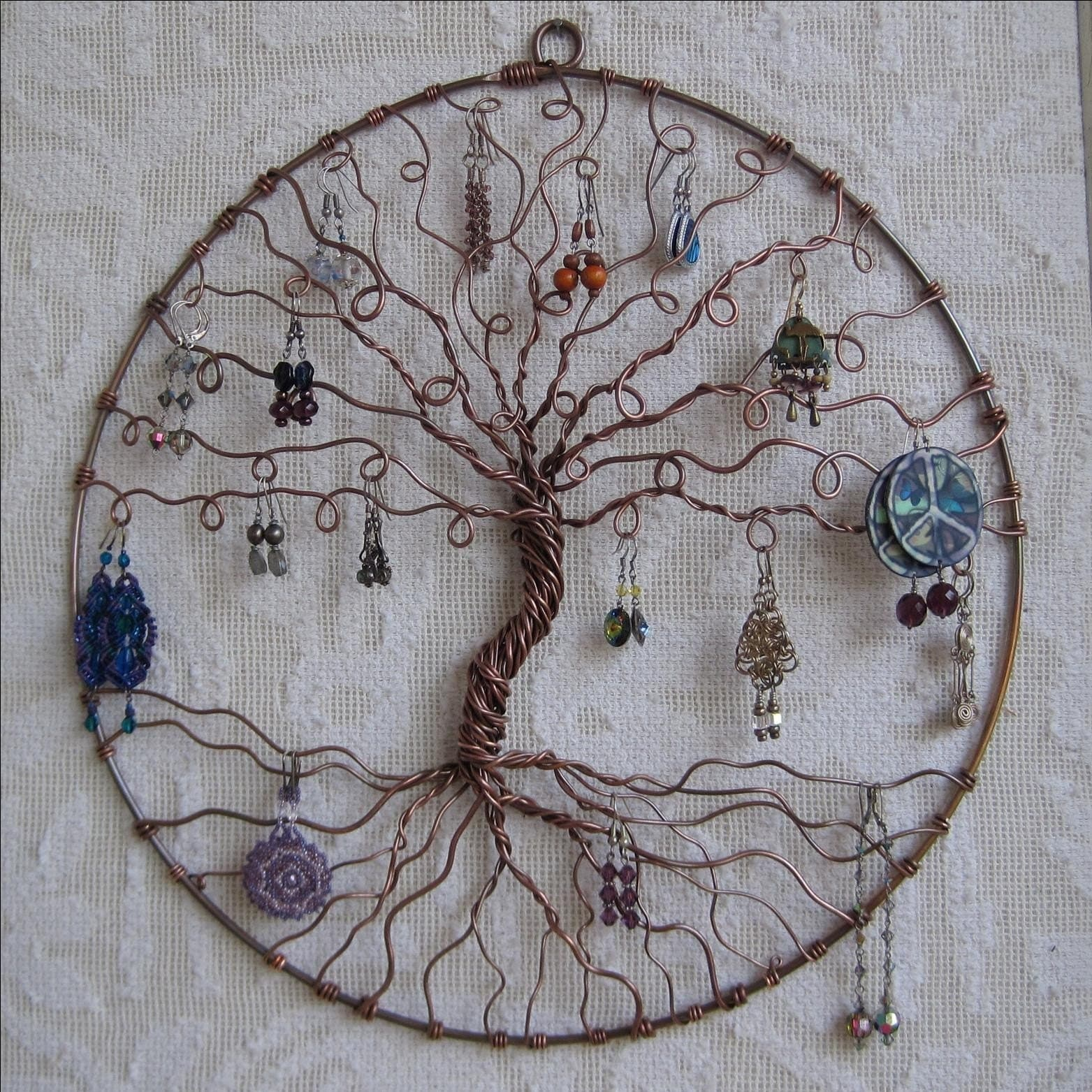 Earring Tree Copper Tree Of Life Wall Hanging By