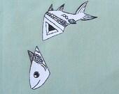 HalFish.  Handmade sew-on patch.