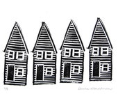 Original House LinoCut on Paper, black and white, graphic minimialist art