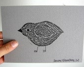 Original Bird Linocut on Gray Paper, Simple Original Art