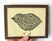 Original Handmade Linocut Blank Greeting Card, Little Birdie