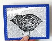 Bird Original Handmade Linocut Blank Greeting Card, Little Birdie