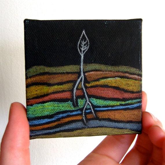 Plant Spout Spring Original Color Pencil Drawing Art on 4 x 4 inch mini canvas