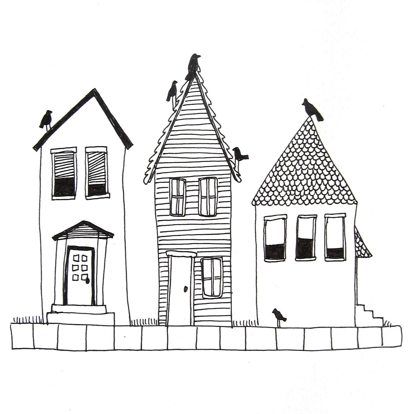 Houses No 5 Original Ink Drawing On Paper