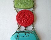 Bold Faux Turquoise, Jade, Cinnabar and Buttons Necklace