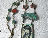 Turquoise Patina and Copper Picture Necklace