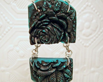 Black and Turquoise Rose Hinged Pendant or Focal Bead