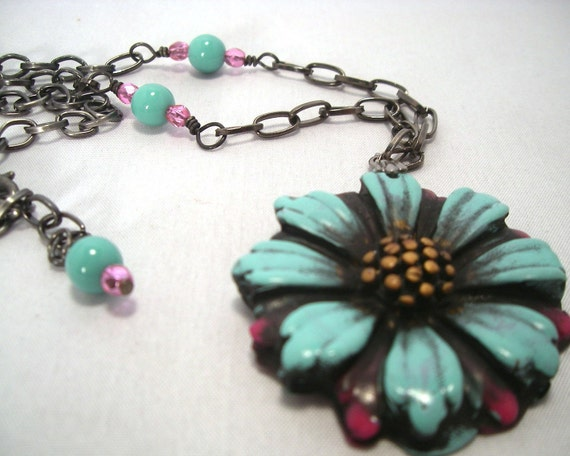 Aqua Turquoise and Honeysuckle Pink Flower Necklace