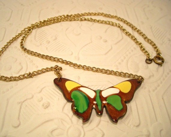 Colorful Enamel Butterfly Necklace