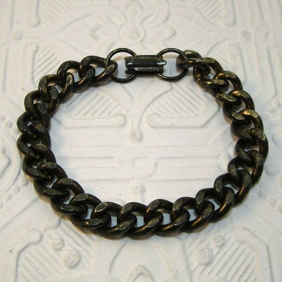 Blackened Brass Heavy Link Bracelet