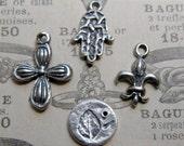 Solid sterling silver charms Petite Flower, Hamsa, Fleur de Lys, leaf imprint