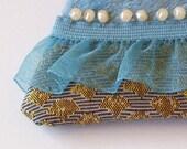 Handbag brooch in blue and mustard - Ladylike