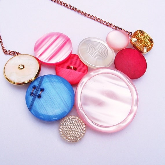 Sunrise - Button bib necklace in pink, red, white, blue and gold