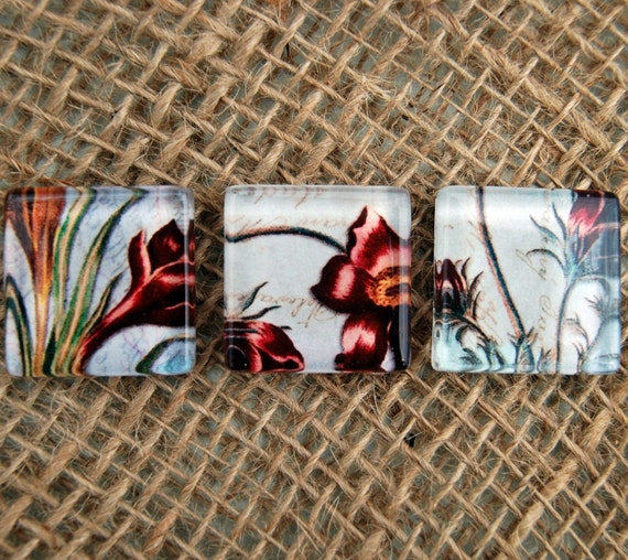 Plum Botanical Glass Square Magnets