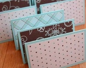Aqua and Brown Mini Cards (set of 9) in polka dots, check, and floral
