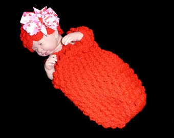 Sale RED COCOON & HAT Hair Bow Newborn Baby Infant Photography Popcorn Beanie Photo Prop