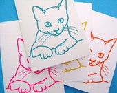 Kitty cat double cards with envelopes. Mixed set of 4 (turquoise, pink, orange, yellow)