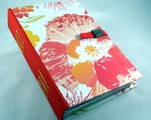 Flowers hard cover notebook or journal in peach, melon, lime green and yellow