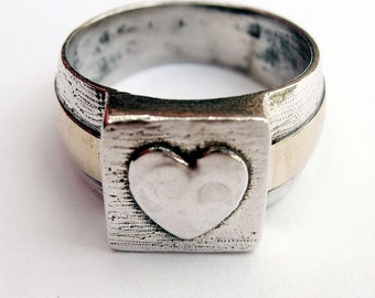 Sterling Silver and 14k Gold Tender Heart Ring