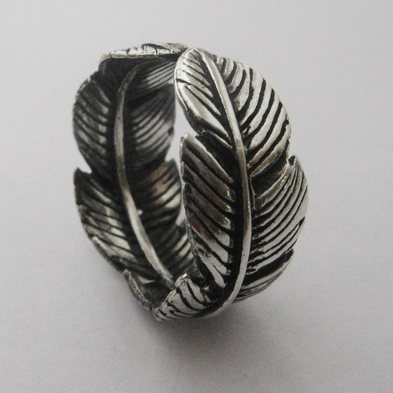 sterling silver feather ring unisex ring by