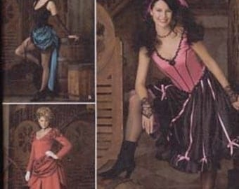 Costume Sewing Pattern Simplicity 2851 Saloon Girl Size 14-20 Bust 36-42 inches Uncut Complete