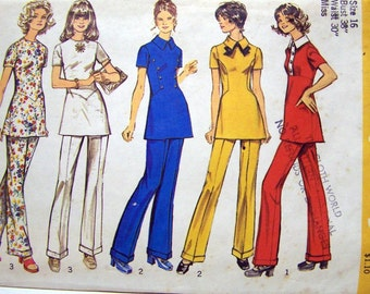 Vintage Sewing Pattern 70's Simplicity 5136 Tunic  Pants Size 12 Bust 34 Complete Uncut