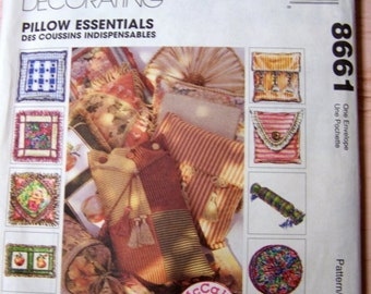 McCall's 8661 Pillow Essentials Sewing Patterns Uncut Complete