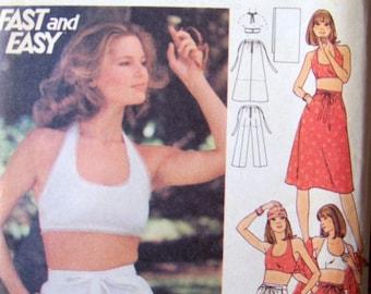 Vintage Sewing Pattern Butterick 4855 Juniors' Tops Pants Bust 32 Uncut Complete