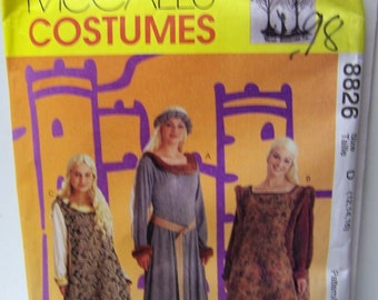 Sewing Pattern McCall's 8826 Misses' Medieval Costumes Size 12-14-16 Uncut Complete