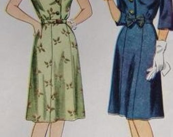 Vintage 40s Simplicity 1571 Misses' Shirtdress Scalloped Neckline Bust 36 Complete