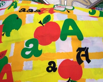 Fabric Yardage  Children's Decor A is for Apple  All Cotton By the Half Yard